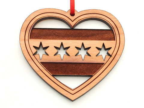 Chicago Flag Heart Ornament with Stars Cut Out