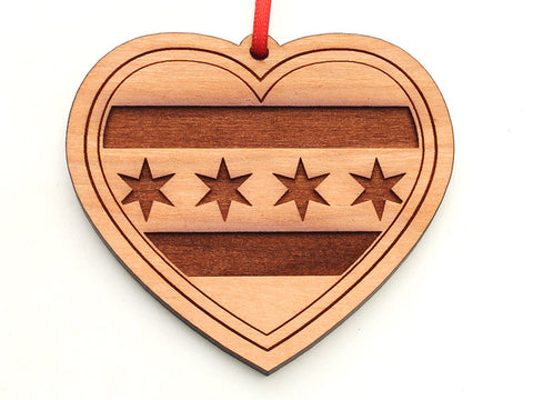 Chicago Flag Heart Ornament with Stars Engraved