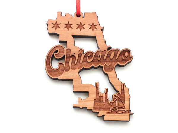 City of Chicago Themed Outline Ornament