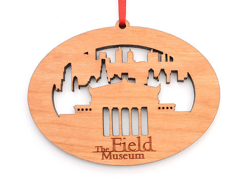 Field Museum Chicago City Skyline Silhouette Oval Ornament - Nestled Pines