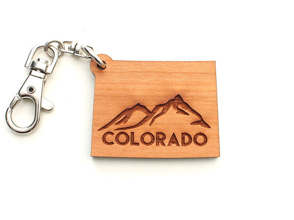 Fruehauf's Colorado Shape Custom Engraved Key Chain - Nestled Pines