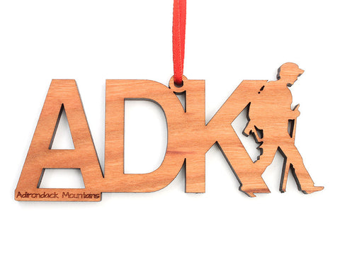ADK Hiker Text Ornament - Nestled Pines