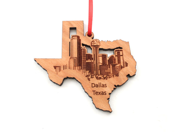 Dallas City Skyline in Texas State Shape Ornament
