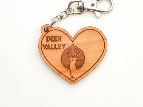 Deer Valley Logo Heart Key Chain