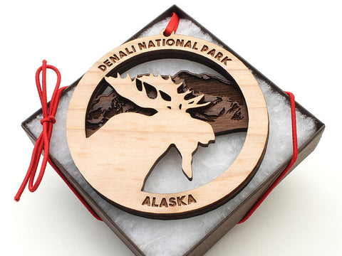 Denali Moose Mountain Double Ornament