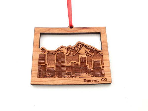 Denver Skyline Ornament in Colorado State Shape