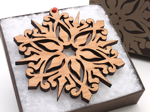 "2016 NEW Detailed 3 1/2"" Wood Snowflake Ornament Gift Box - Design A - Nestled Pines - 1"