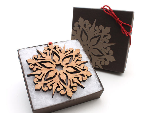 "2016 NEW Detailed 3 1/2"" Wood Snowflake Ornament Gift Box - Design A - Nestled Pines - 3"