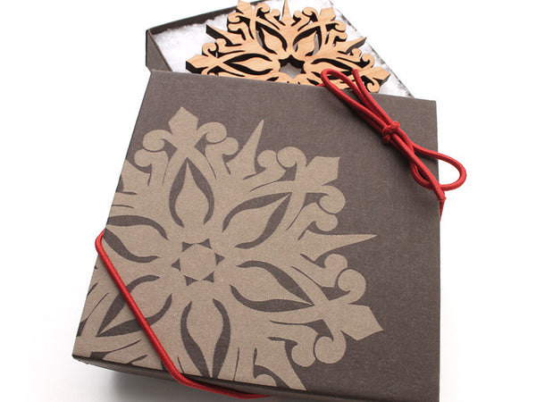 "2016 NEW Detailed 3 1/2"" Wood Snowflake Ornament Gift Box - Design A - Nestled Pines - 2"