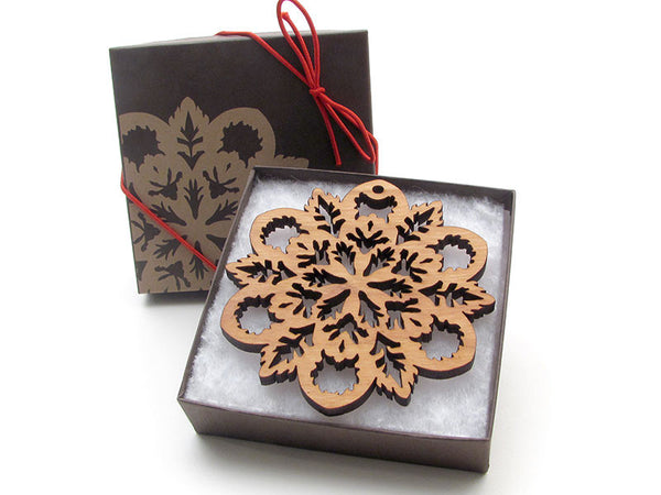 "Detailed 3 1/2"" Wood Snowflake Ornament Gift Box - Design B - Nestled Pines - 2"