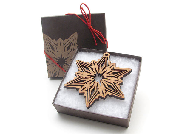 "Detailed 3 1/2"" Wood Snowflake Ornament Gift Box - Design C - Nestled Pines - 2"