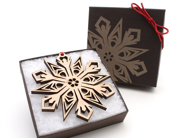 "2016 NEW Detailed 3 1/2"" Wood Snowflake Ornament Gift Box - Design C - Nestled Pines - 3"