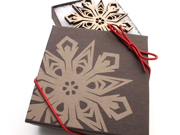"2016 NEW Detailed 3 1/2"" Wood Snowflake Ornament Gift Box - Design C - Nestled Pines - 2"