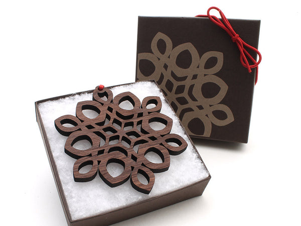 "2016 NEW Detailed 3 1/2"" Wood Snowflake Ornament Gift Box - Design D - Nestled Pines - 2"