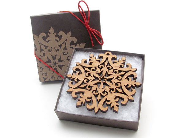 "Detailed 3 1/2"" Wood Snowflake Ornament Gift Box - Design D - Nestled Pines - 2"