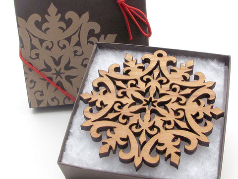 "Detailed 3 1/2"" Wood Snowflake Ornament Gift Box - Design D - Nestled Pines - 1"