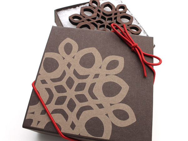 "2016 NEW Detailed 3 1/2"" Wood Snowflake Ornament Gift Box - Design D - Nestled Pines - 3"