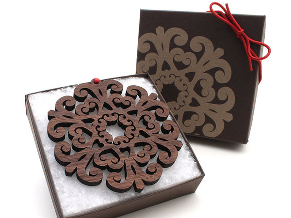 "2016 NEW Detailed 3 1/2"" Wood Snowflake Ornament Gift Box - Design E - Nestled Pines - 3"