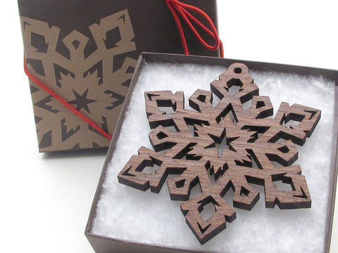 "Detailed 3 1/2"" Wood Snowflake Ornament Gift Box - Design E - Nestled Pines - 1"