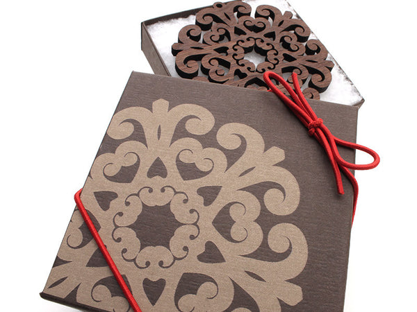 "2016 NEW Detailed 3 1/2"" Wood Snowflake Ornament Gift Box - Design E - Nestled Pines - 2"