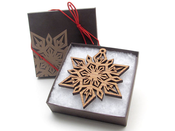 "Detailed 3 1/2"" Wood Snowflake Ornament Gift Box - Design F - Nestled Pines - 2"
