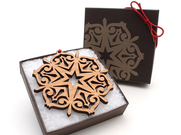 "2016 NEW Detailed 3 1/2"" Wood Snowflake Ornament Gift Box - Design F - Nestled Pines - 3"