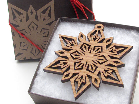 "Detailed 3 1/2"" Wood Snowflake Ornament Gift Box - Design F - Nestled Pines - 1"