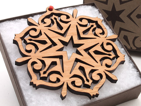 "2016 NEW Detailed 3 1/2"" Wood Snowflake Ornament Gift Box - Design F - Nestled Pines - 1"