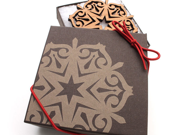 "2016 NEW Detailed 3 1/2"" Wood Snowflake Ornament Gift Box - Design F - Nestled Pines - 2"