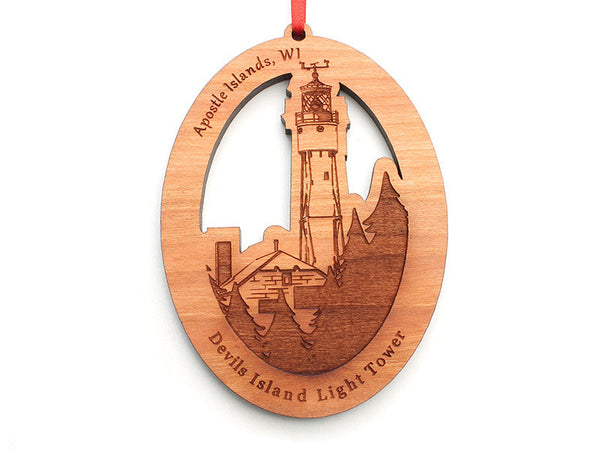Madeline Island Devils Island Light Tower Ornament - Nestled Pines