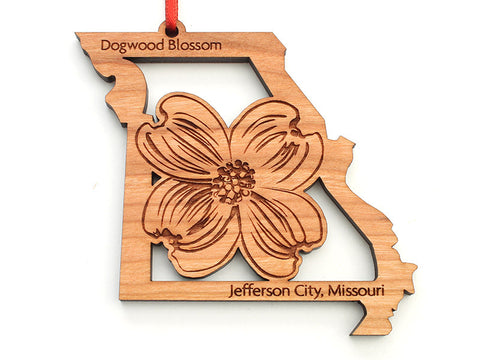 Jefferson City Missouri Dogwood Flower State Cut Out Ornament - Nestled Pines