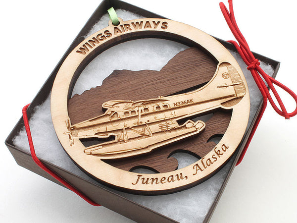Wings Airways Alaska Float Plane with Mountains Double Layer Ornament