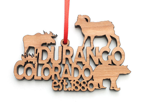 Durango Text Ornament - Nestled Pines