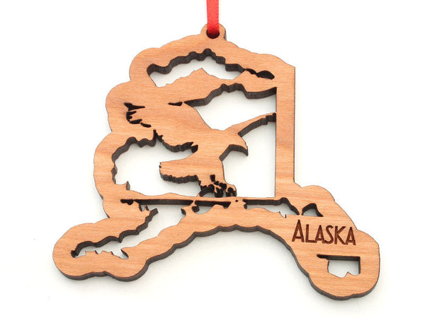 Alaska State Shape with Eagle Insert Ornament