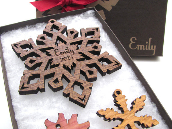 Custom Engraved Christmas Snowflake Ornament Gift Box Set - Nestled Pines - 1