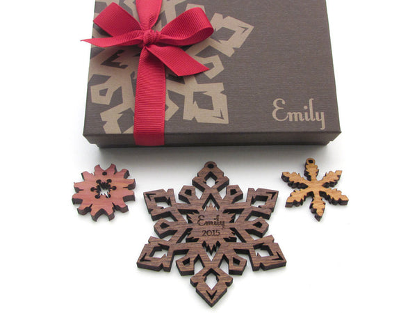Custom Engraved Christmas Snowflake Ornament Gift Box Set - Nestled Pines - 3