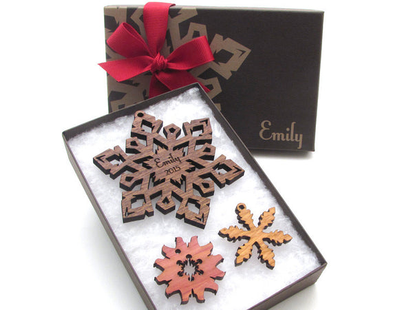 Custom Engraved Christmas Snowflake Ornament Gift Box Set - Nestled Pines - 4