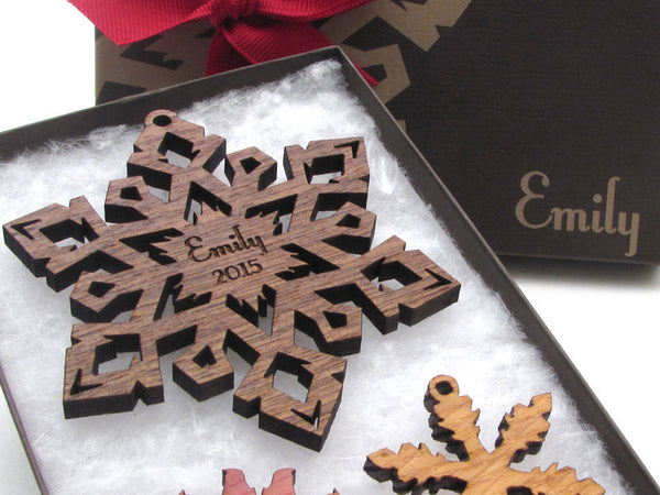 Custom Engraved Christmas Snowflake Ornament Gift Box Set - Nestled Pines - 5