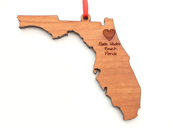 Ponte Vedra Beach Florida State Shape Custom Ornament - Nestled Pines
