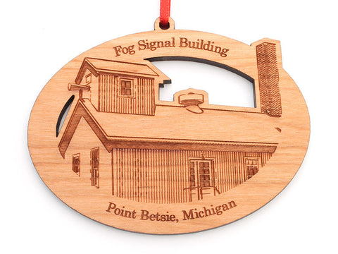Point Betsie Fog Building Oval Custom Ornament - Nestled Pines