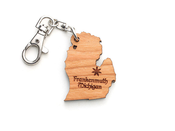 Frankenmuth Michigan State Key Chain Alt - Nestled Pines