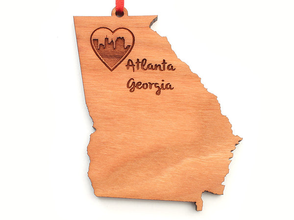 Atlanta Georgia State Shape Custom Ornament - Nestled Pines