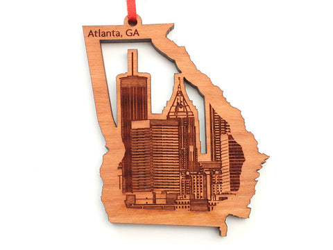 Atlanta Georgia State Shape Custom Ornament with Detailed City Skyline Engraving - Nestled Pines