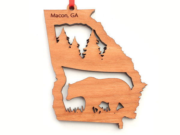 Macon Georgia State Shape Custom Ornament with Bear Insert - Nestled Pines