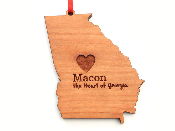 Macon Georgia State Shape Custom Ornament with Heart Engraving - Nestled Pines