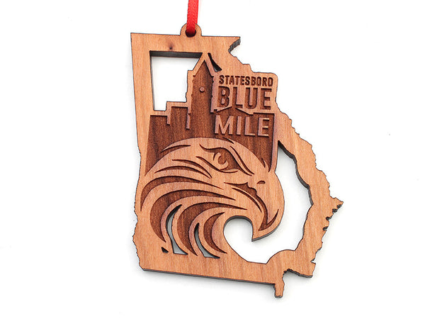 Georgia State Shape Statesboro Blue Mile Custom Ornament - Nestled Pines