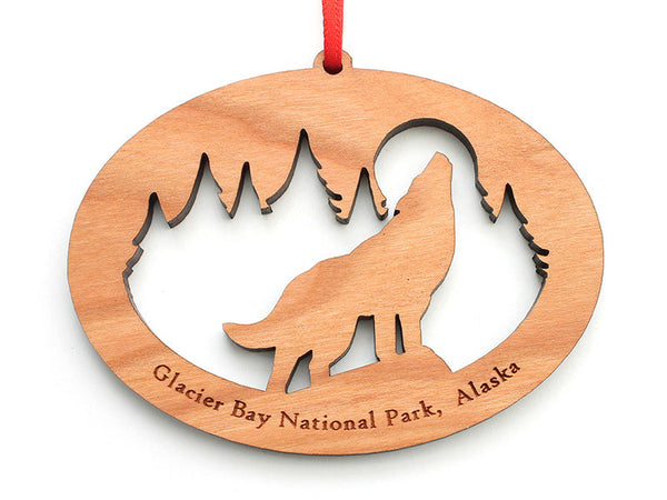 Glacier Wolf NW Ornament - Nestled Pines