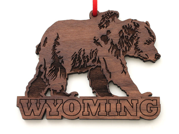 Grizzly Bear Wyoming Text Ornament