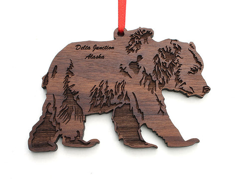 Smiling Moose Grizzly Bear Ornament ND - Nestled Pines