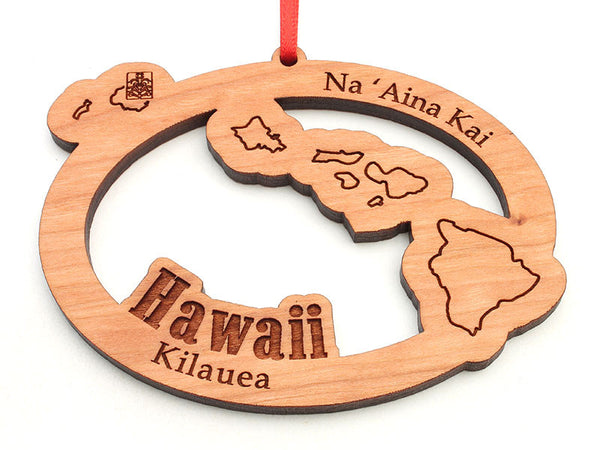 Na 'Aina Kai Botanical Gardens Hawaii State Shape Custom Ornament